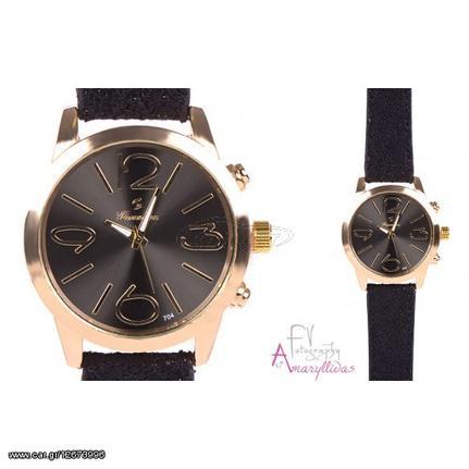 Γυναικείο ρολόι χειρός με μαύρο λουρί by Amaryllidas Art collection - 21817  Παλιά Σχεδίαση 492fd004ef0