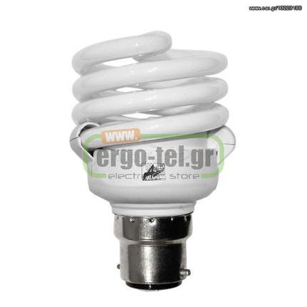 Λάμπα οικονομίας σπιράλ B22 ισχύος 20W(απόδοση 100W) 230V 6400K λευκό ψυχρό  φως 1155lm  102b84d9701