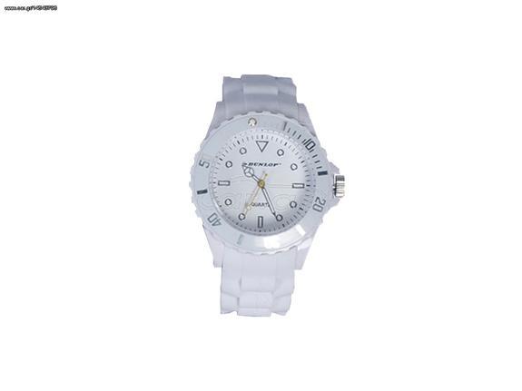 09f0167f6e Dunlop Ρολόι Trendy Unisex Ελβετικός Μηχανισμός Quartz Λουράκι από Σιλικόνη  Λευκό με Λευκές Ασημί ενδείξεις