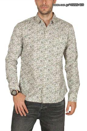 21c5d6387f7a LTB Micepe ανδρικό πουκάμισο μακρυμάνικο εκρού φλοράλ - m49068-ec ...