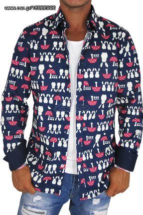 86ee0822dabd Missone ανδρικό πουκάμισο navy με κουνελάκια και μανιτάρια πριντ ...