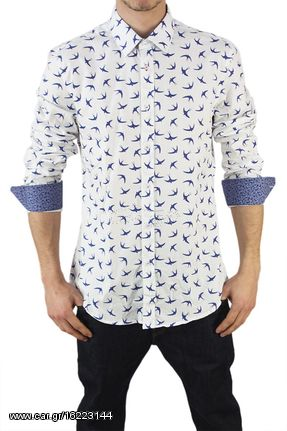 e4a09250dc8 Missone ανδρικό πουκάμισο λευκό με χελιδόνια print - 944-swa - € 29 ...