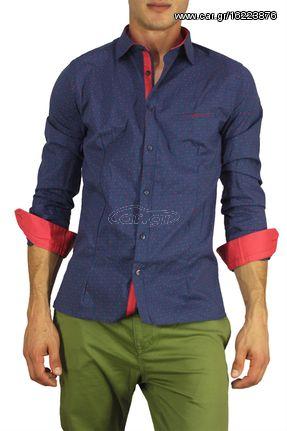 af26329b663a Ανδρικό πουκάμισο μπλε με φούξια πριντ - bc-s16201-bl - € 31 EUR ...