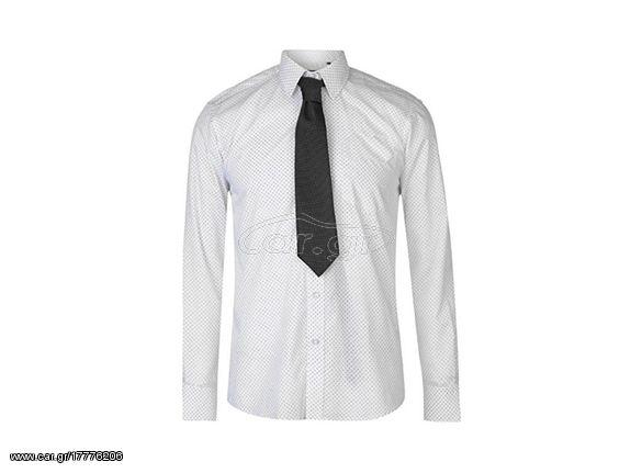 Pierre Cardin Ανδρικό Πουκάμισο Μακριμάνικο με Γιακά και σχέδιο σε χρώμα  Λευκό Μαύρο 45058ad207d