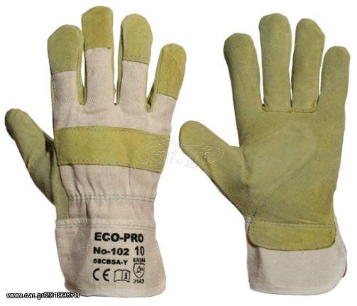 08dd20a366 Ecopro No102 Δερματοπάνινα Γάντια Προστασίας (Νούμερο 10) Παλιά Σχεδίαση