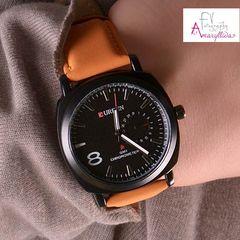 b3bb1f2e29 Unisex ρολόι χειρός με ταμπά λουρί και μαύρο καντράν by Amaryllida s Art  collection - Curren 22395