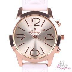 5b5ec7b69e Γυναικείο ρολόι με λευκό ανάγλυφο λουράκι και ροζ χρυσή στεφάνη by  Amaryllida s art collection -