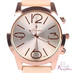 4704dce8b2 Γυναικείο ρολόι χειρός με μπεζ ανάγλυφο λουράκι και ροζ χρυσή στεφάνη by  Amaryllida s art collection