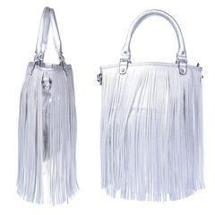 6ed30af9b0 Γυναικεία τσάντα ώμου με κρόσια - Ασημί - OEM 30982