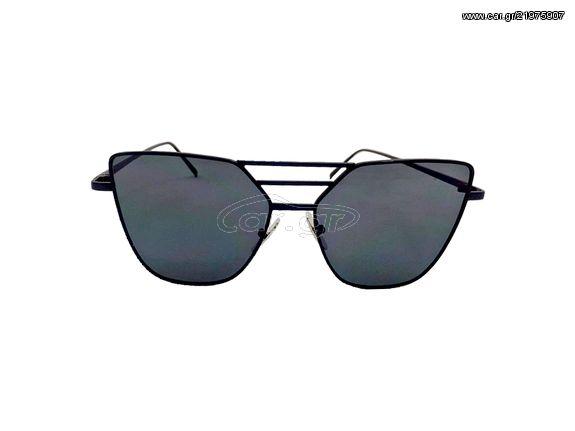 511aedd2de Γυναικεία Γυαλιά Ηλίου Καθρέφτης Flat top Sunglasses με Μαύρο Μεταλλικό  σκελετό και Μαύρο Φακό - OEM Παλιά Σχεδίαση